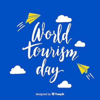 Wereld toerisme dag belettering achtergrond