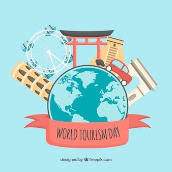 Wereld toerisme dag concept met platte ontwerp