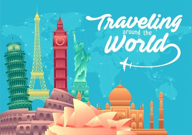 Wereld toerisme dag poster met beroemde bezienswaardigheden van de wereld en toeristische bestemmingen elementen
