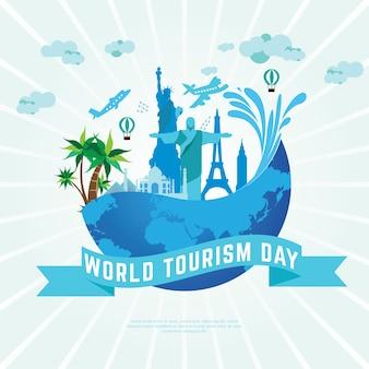 Wereld toerisme dag vector ontwerp