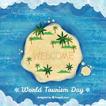 Wereld toeristiedag, aquarel achtergrond met een eiland