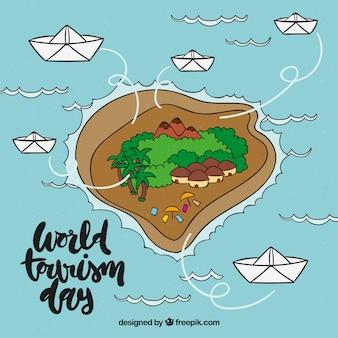 Wereld toeristische dag met hand getekend eiland