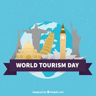 Wereld toeristische dag, platte elementen