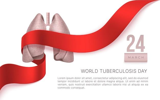 Wereld tuberculose dag 24 maart. longen, rood lint. tb bewustzijn teken