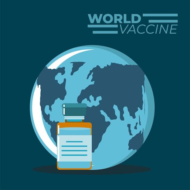 Wereld vaccin geneeskunde bescherming illustratie