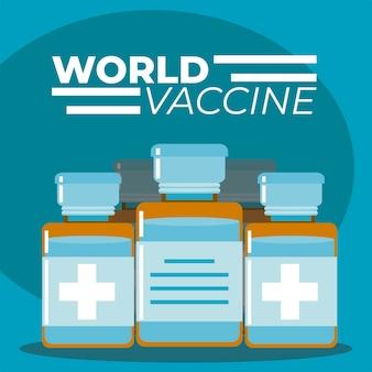 Wereld vaccin geneeskunde flacon flessen illustratie