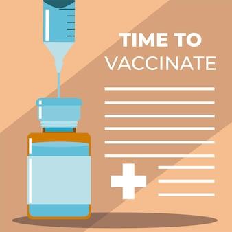 Wereld vaccin spuit naald in flacon geneeskunde illustratie