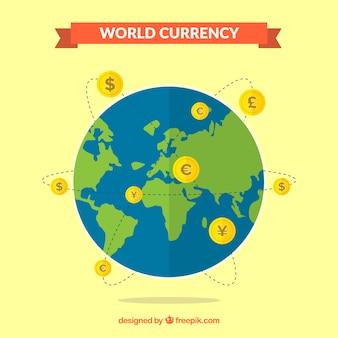Wereld valuta-concept