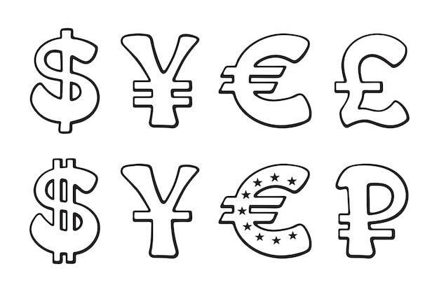 Wereld valuta's overzicht pictogrammenset dollar euro yen yuan roebel pond