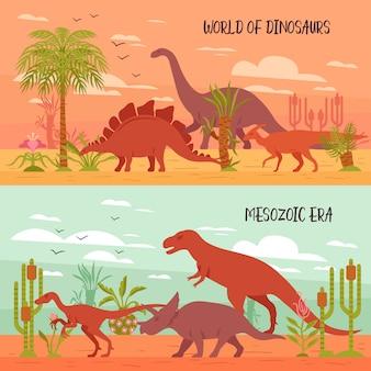Wereld van dinosaurussen illustratie