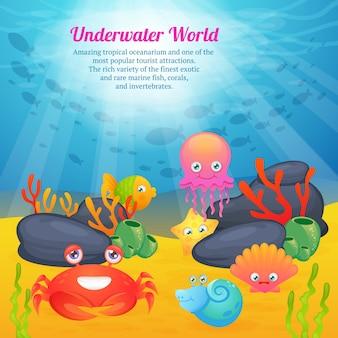 Wereld van schattige dieren onderwaterwereld