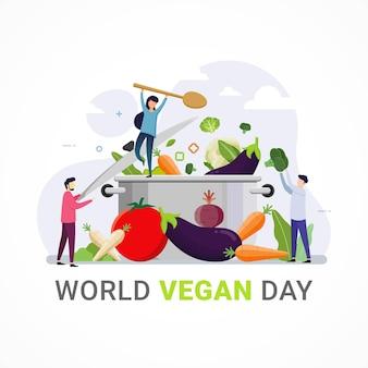 Wereld vegan dag banner viering vectorafbeelding