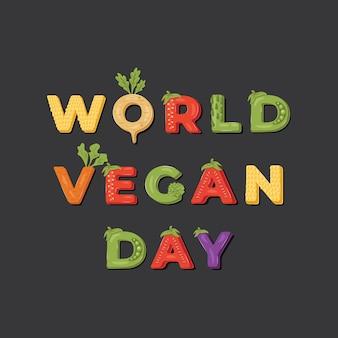 Wereld vegan day illustratie.