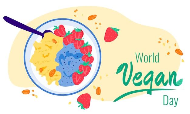 Wereld vegan day kleurrijke illustratie