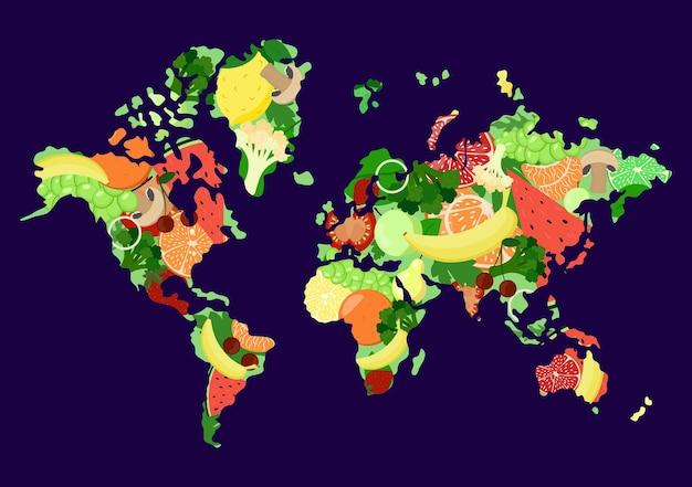 Wereld vegetarische dag. 1 oktober. wereldkaart met groenten en fruit.