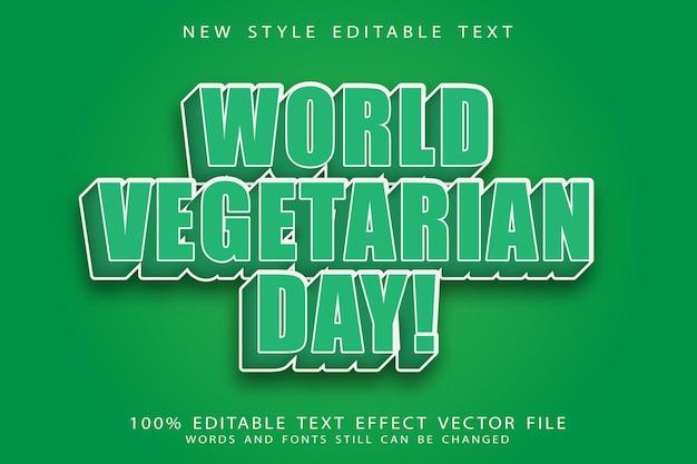 Wereld vegetarische dag bewerkbaar teksteffect reliëf vintage stijl