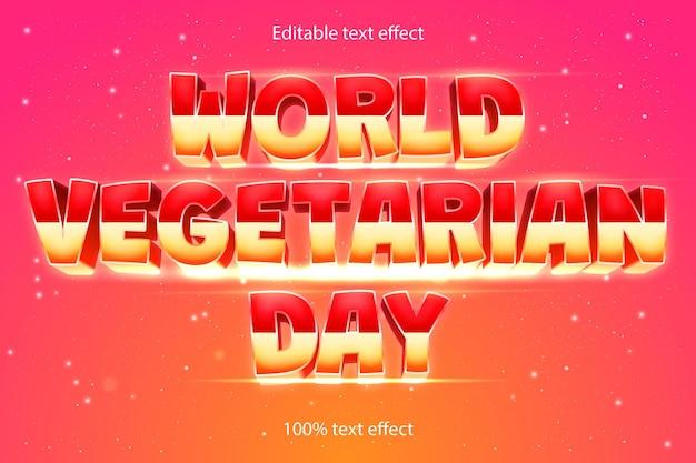 Wereld vegetarische dag bewerkbare teksteffect retro-stijl