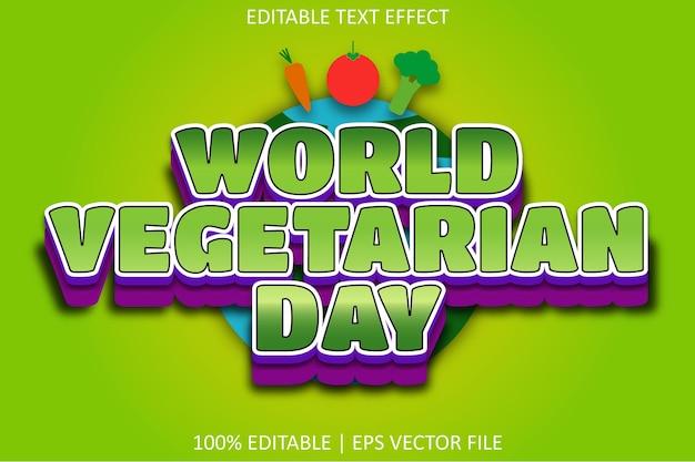 Wereld vegetarische dag met cartoon emboss stijl bewerkbaar teksteffect