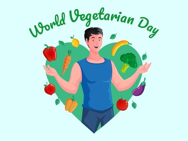 Wereld vegetarische dag met gezonde mannen
