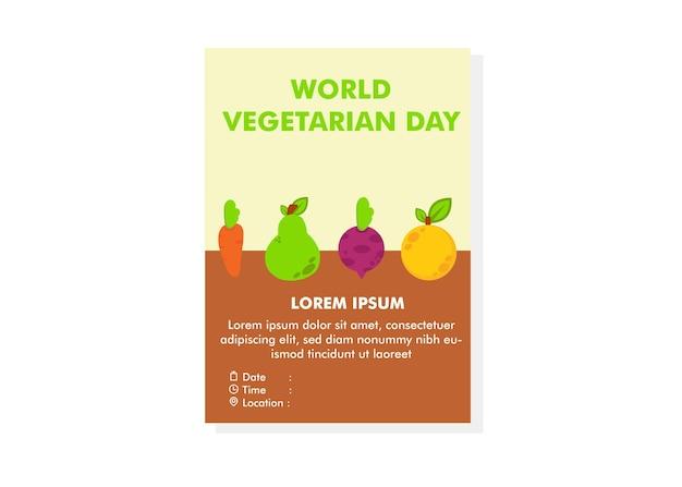 Wereld vegetarische dag poster ontwerpsjabloon flyer ontwerpsjabloon