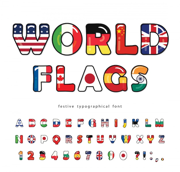 Wereld vlaggen cartoon lettertype. helder alfabet