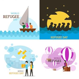 Wereld vluchteling dag illustratie