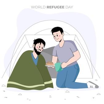 Wereld vluchtelingendag concept