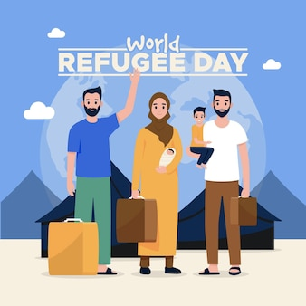 Wereld vluchtelingendag geïllustreerd ontwerp