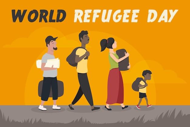 Wereld vluchtelingendag illustratie
