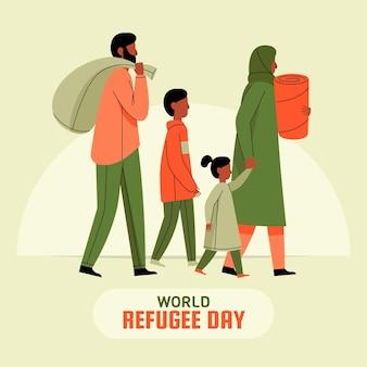 Wereld vluchtelingendag in platte ontwerp
