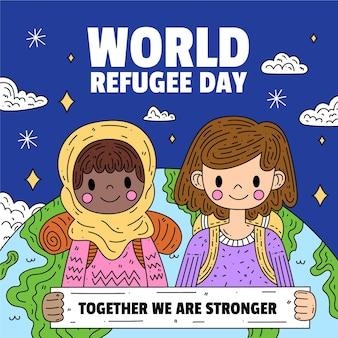Wereld vluchtelingendag met kinderen en planeet