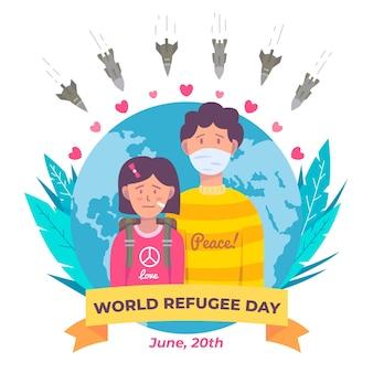 Wereld vluchtelingendag met mensen en planeet