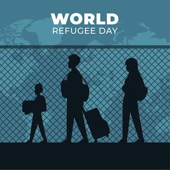 Wereld vluchtelingendag met mensen silhouetten