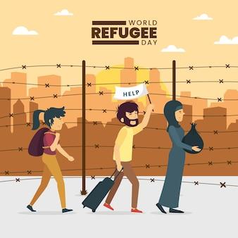 Wereld vluchtelingendag met mensen