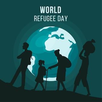Wereld vluchtelingendag met silhouetten en planeet aarde