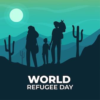 Wereld vluchtelingendag met silhouetten