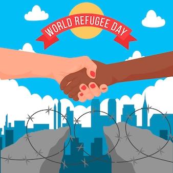 Wereld vluchtelingendag plat ontwerp