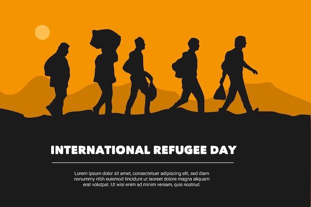Wereld vluchtelingendag silhouetten ontwerp
