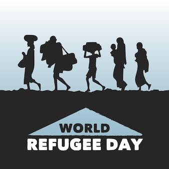 Wereld vluchtelingendag silhouetten