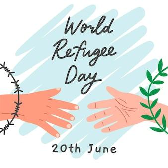 Wereld vluchtelingendag tekenen concept