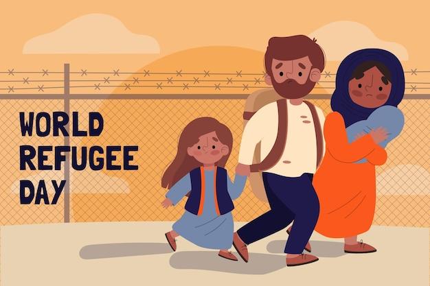 Wereld vluchtelingendag tekenen illustratie