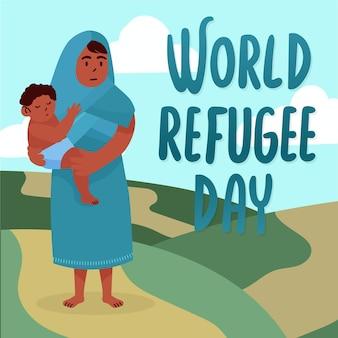 Wereld vluchtelingendag tekenen ontwerp