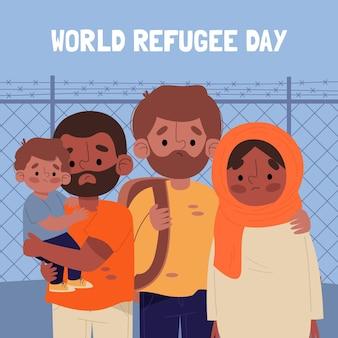 Wereld vluchtelingendag tekenen stijl