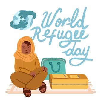 Wereld vluchtelingendag tekenen thema