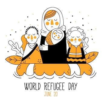 Wereld vluchtelingendag tekening concept