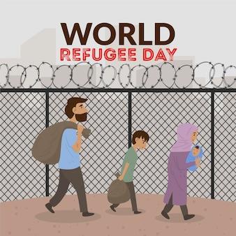 Wereld vluchtelingendag tekening illustratie