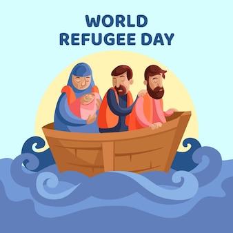 Wereld vluchtelingendag viering plat ontwerp