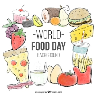 Wereld voedsel dag achtergrond met schetsen van voedsel