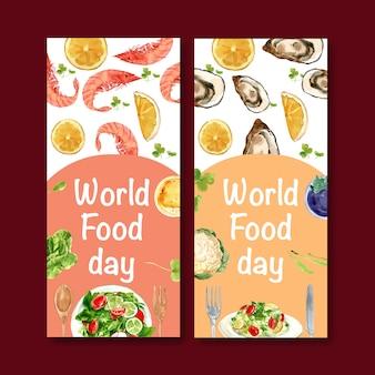 Wereld voedsel dag flyer met garnalen, clam, sinaasappel, salade aquarel illustratie.