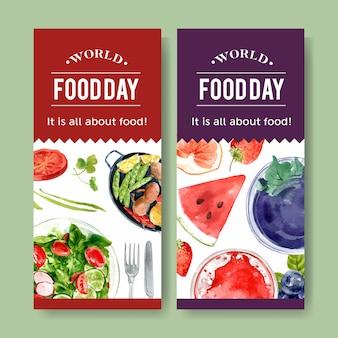 Wereld voedsel dag flyer met salade en fruit dressing aquarel illustratie.